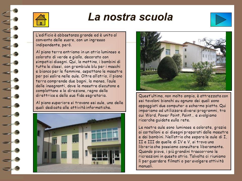 La nostra scuola L'edificio è abbastanza grande ed è unito al convento delle suore, con un ingresso indipendente, però.