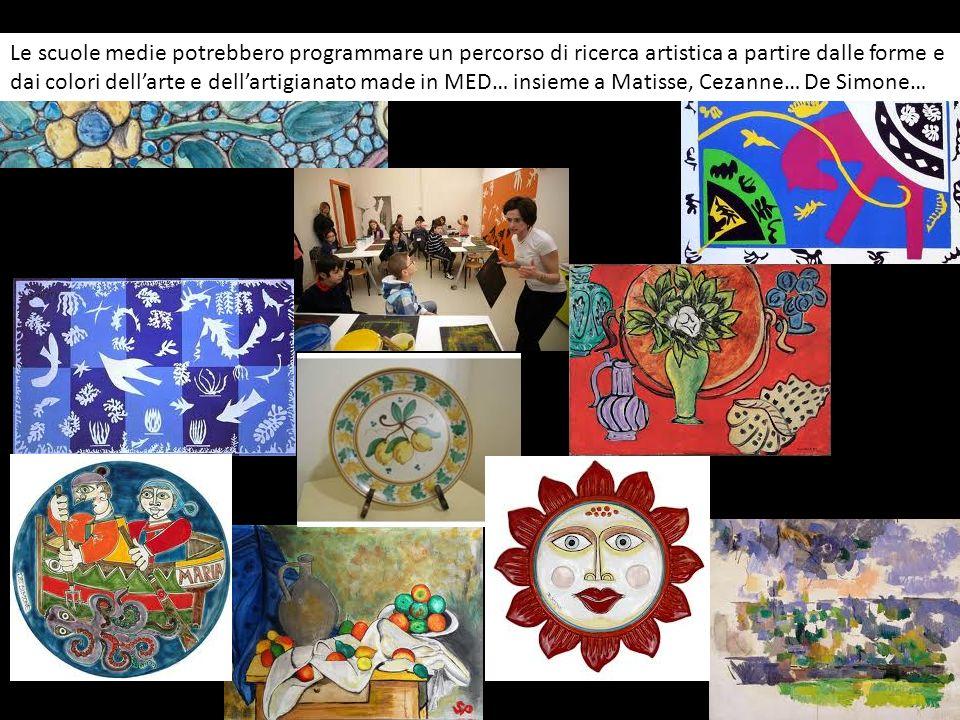 Le scuole medie potrebbero programmare un percorso di ricerca artistica a partire dalle forme e dai colori dell'arte e dell'artigianato made in MED… insieme a Matisse, Cezanne… De Simone…