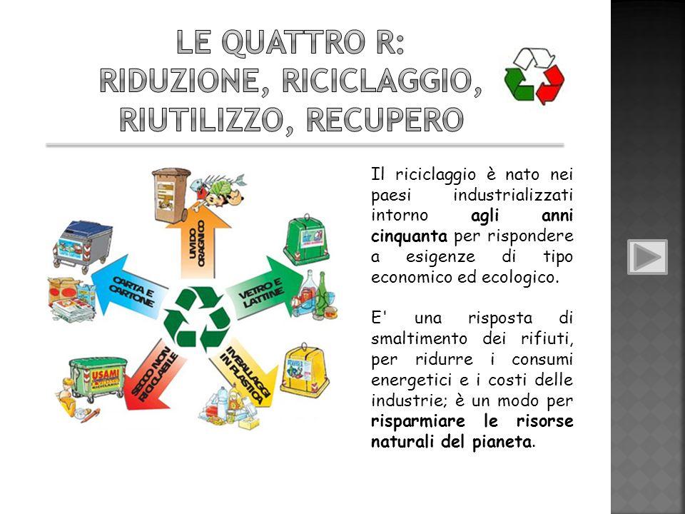 Le quattro R: Riduzione, Riciclaggio, Riutilizzo, Recupero