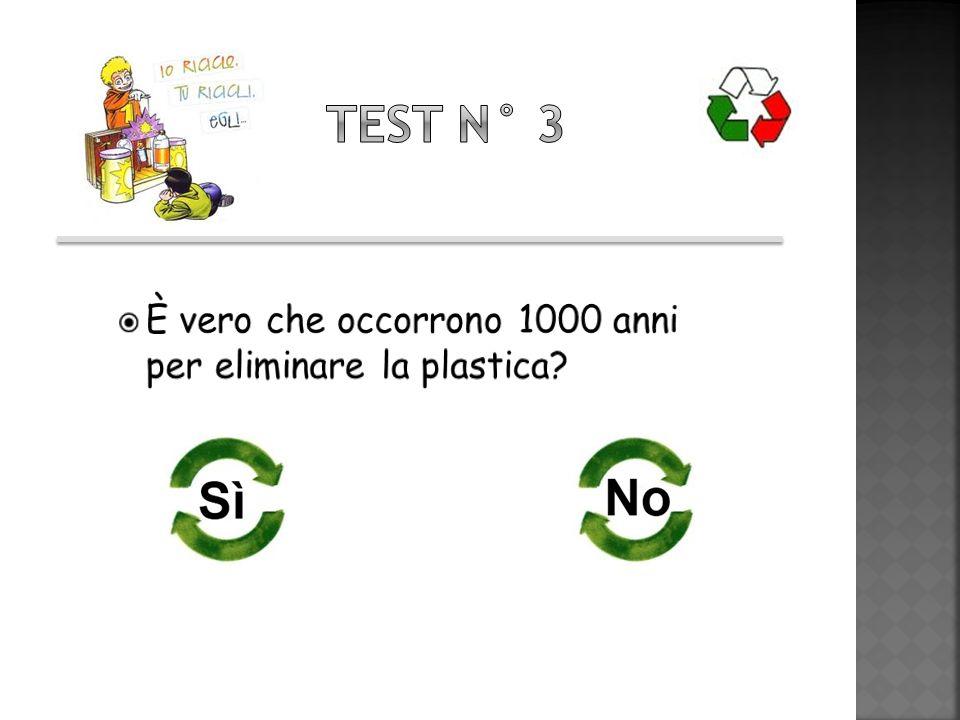 Test n° 3 È vero che occorrono 1000 anni per eliminare la plastica