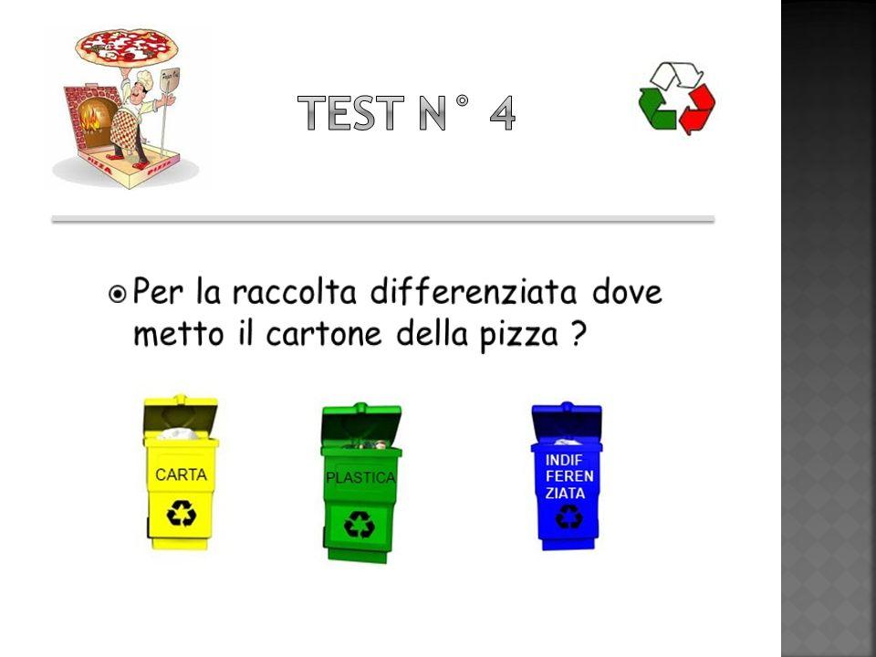 Test n° 4 Per la raccolta differenziata dove metto il cartone della pizza