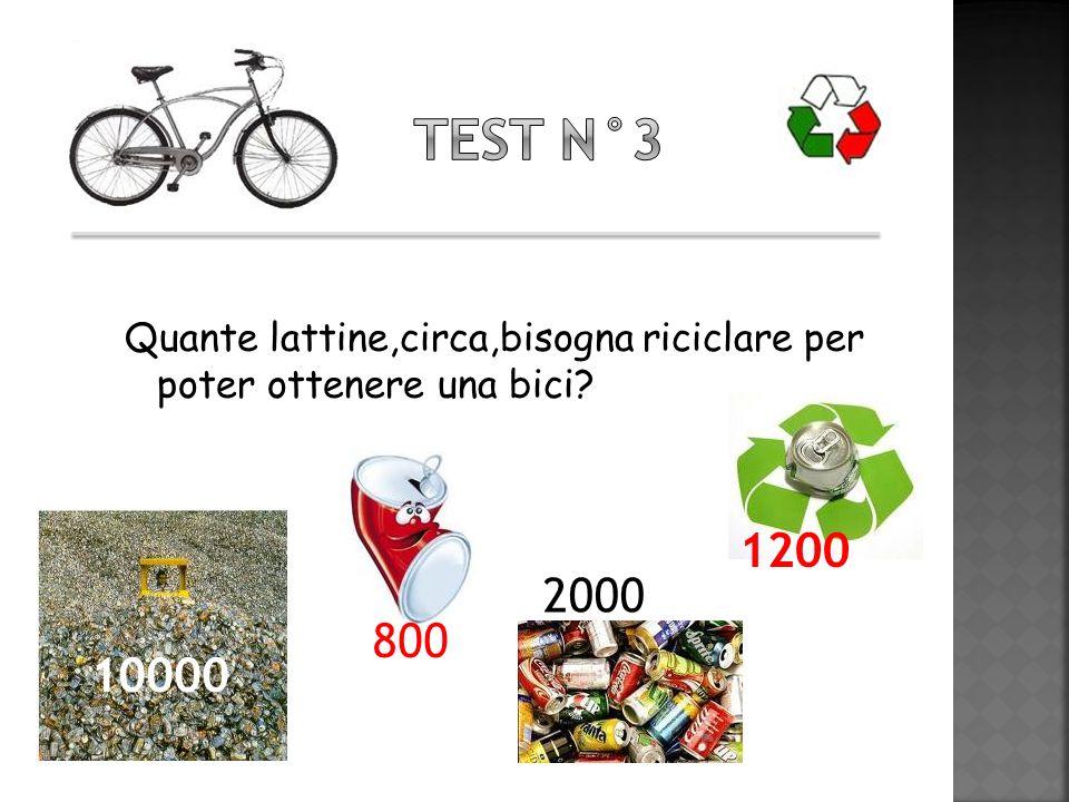 Test n°3 Quante lattine,circa,bisogna riciclare per poter ottenere una bici 1200 800 10000 2000