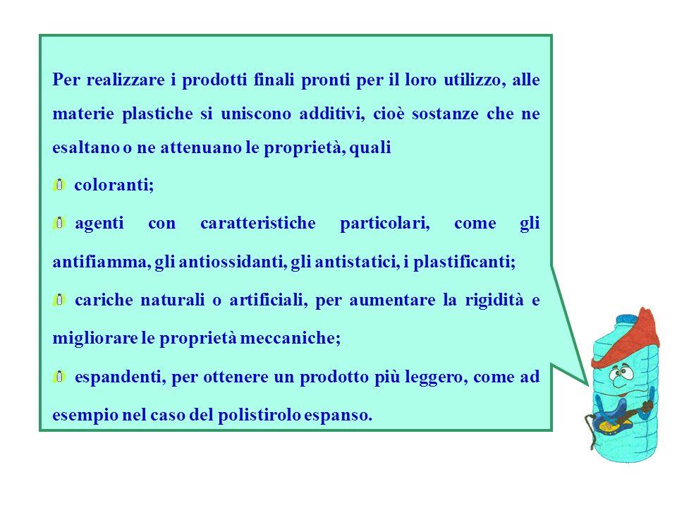 Per realizzare i prodotti finali pronti per il loro utilizzo, alle materie plastiche si uniscono additivi, cioè sostanze che ne esaltano o ne attenuano le proprietà, quali