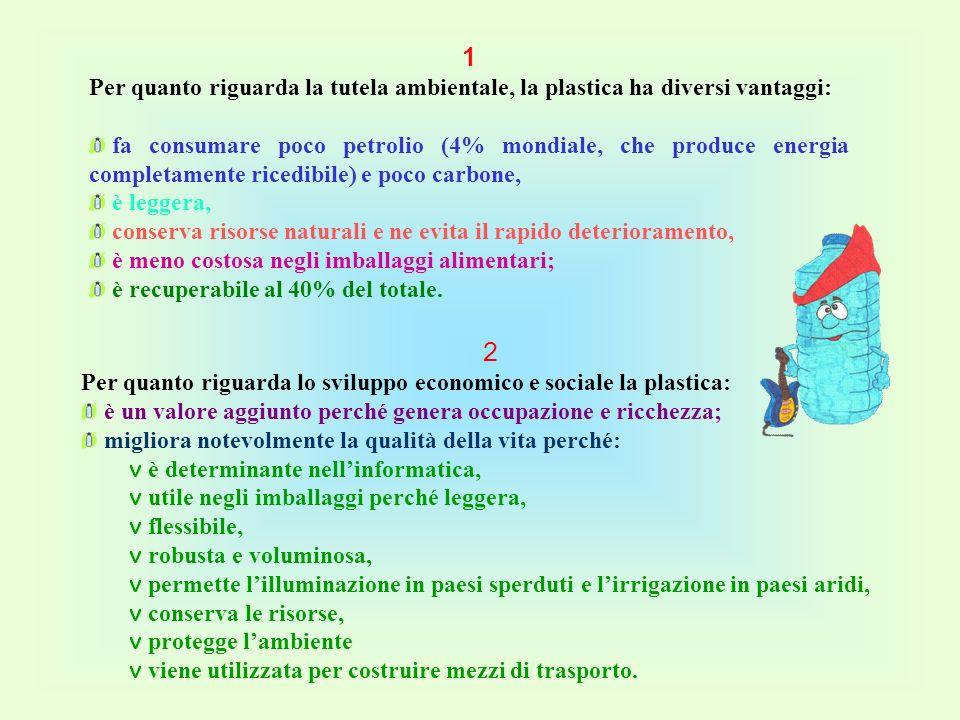 1 Per quanto riguarda la tutela ambientale, la plastica ha diversi vantaggi: