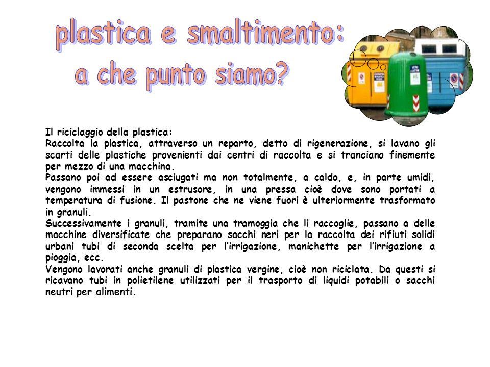 plastica e smaltimento: