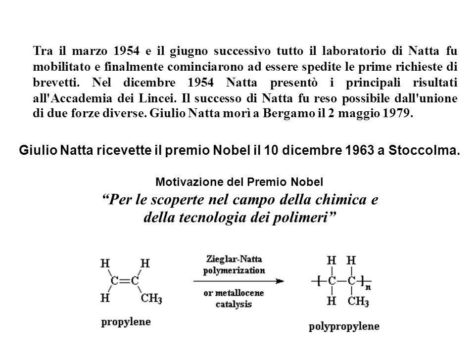 Per le scoperte nel campo della chimica e