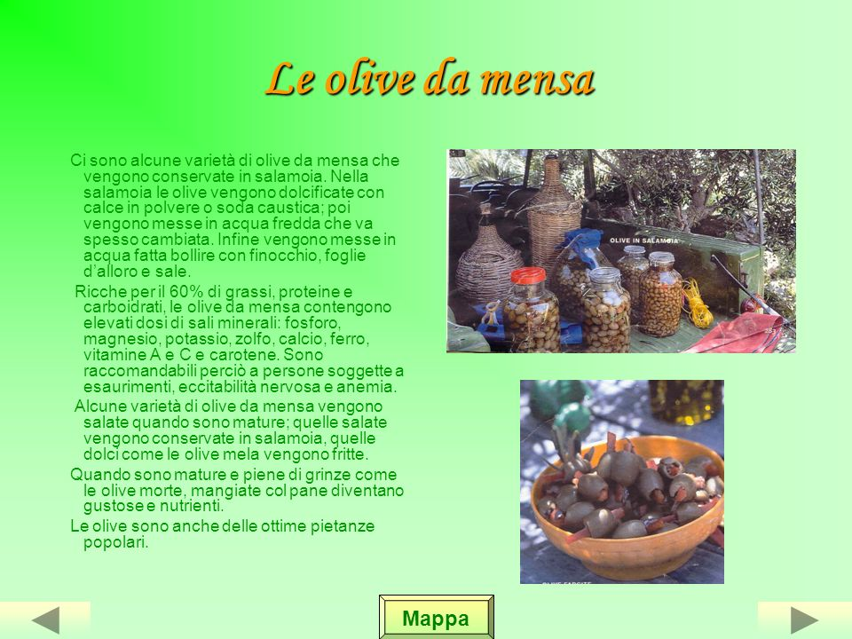 Le olive da mensa