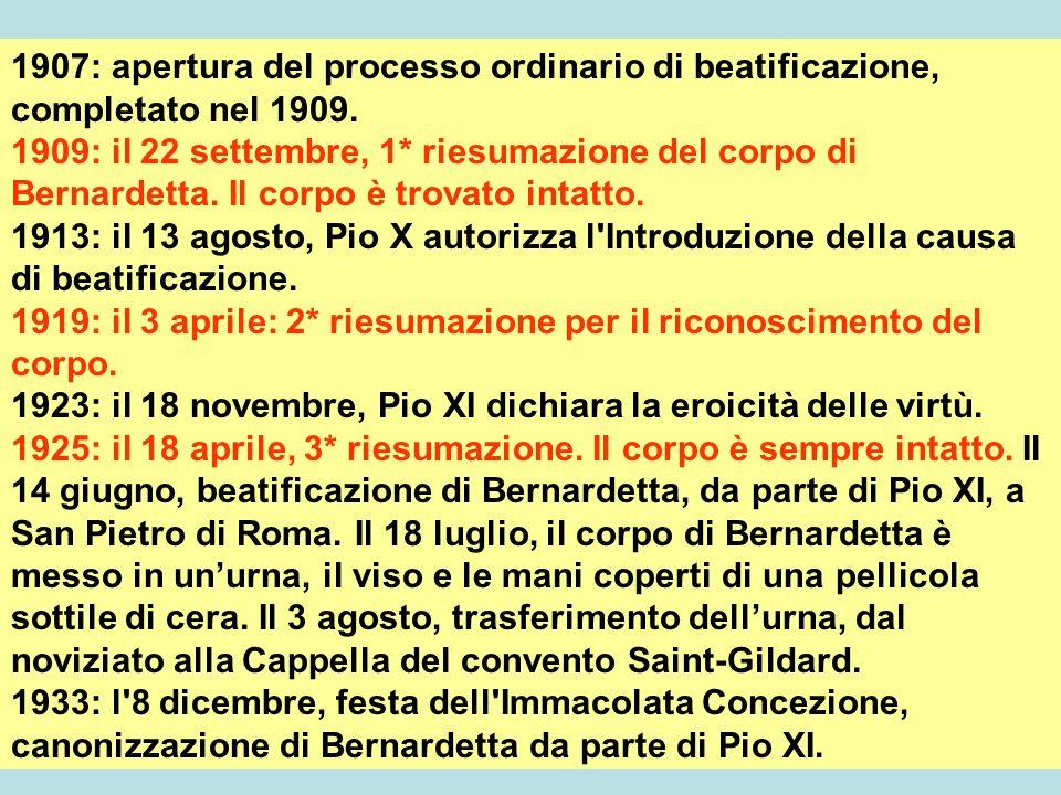 1907: apertura del processo ordinario di beatificazione, completato nel 1909.