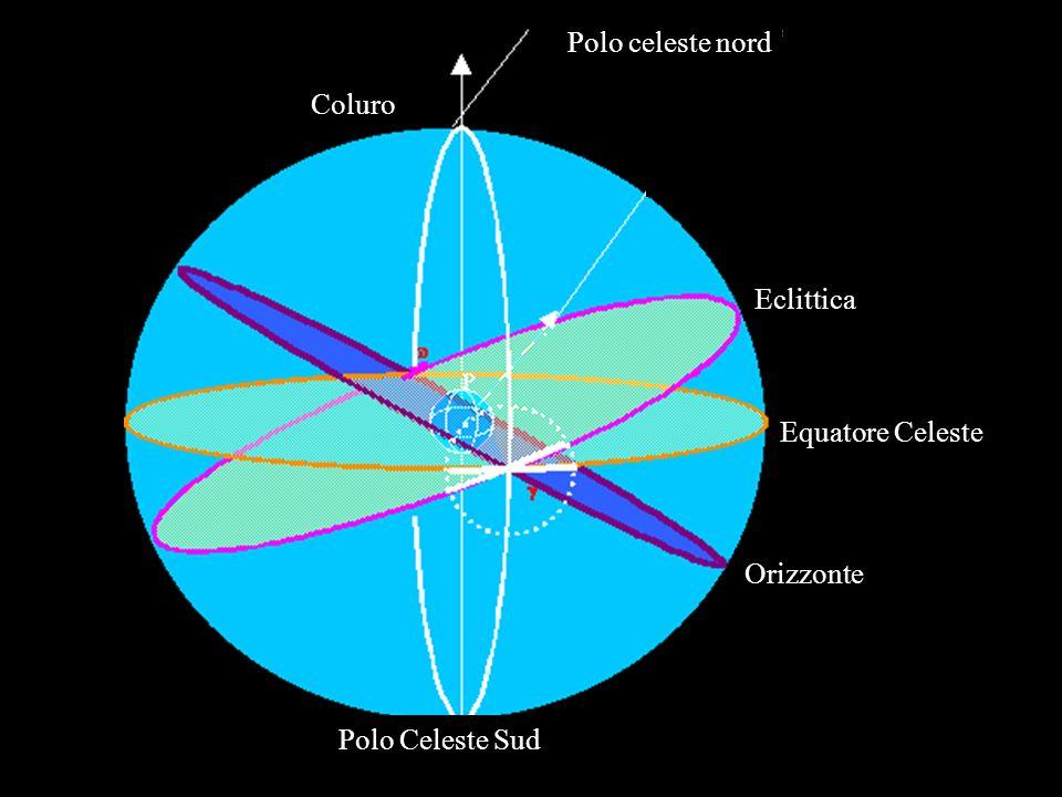Polo celeste nord Coluro Eclittica Equatore Celeste Orizzonte Polo Celeste Sud