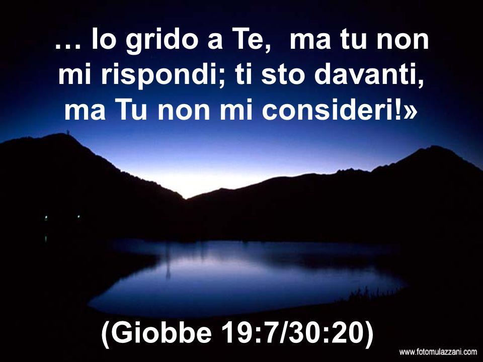… Io grido a Te, ma tu non mi rispondi; ti sto davanti, ma Tu non mi consideri!»