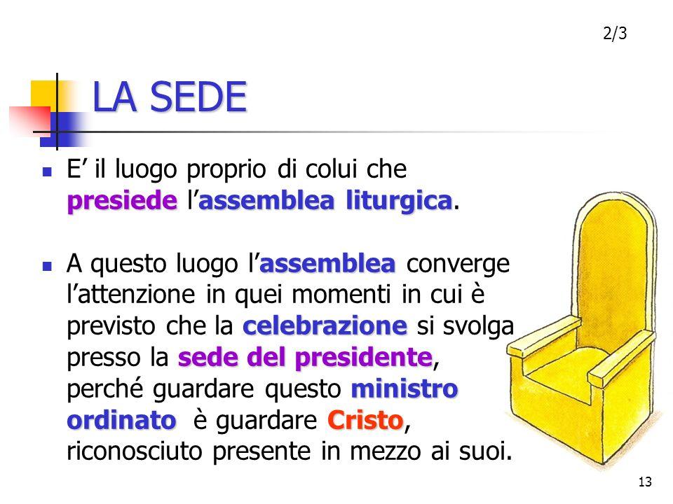 LA SEDE2/3. E' il luogo proprio di colui che presiede l'assemblea liturgica.