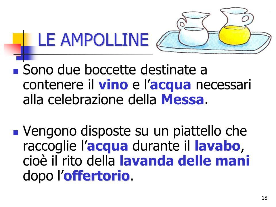 LE AMPOLLINE Sono due boccette destinate a contenere il vino e l'acqua necessari alla celebrazione della Messa.