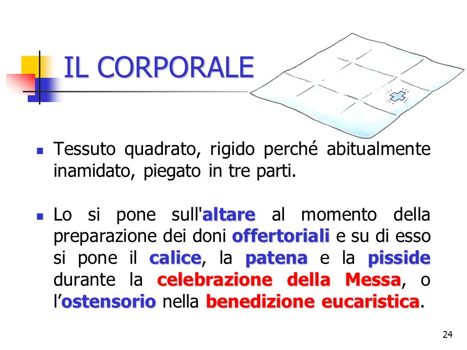 IL CORPORALETessuto quadrato, rigido perché abitualmente inamidato, piegato in tre parti.