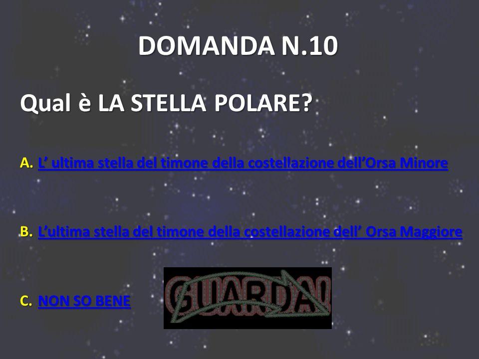 DOMANDA N.10 Qual è LA STELLA POLARE