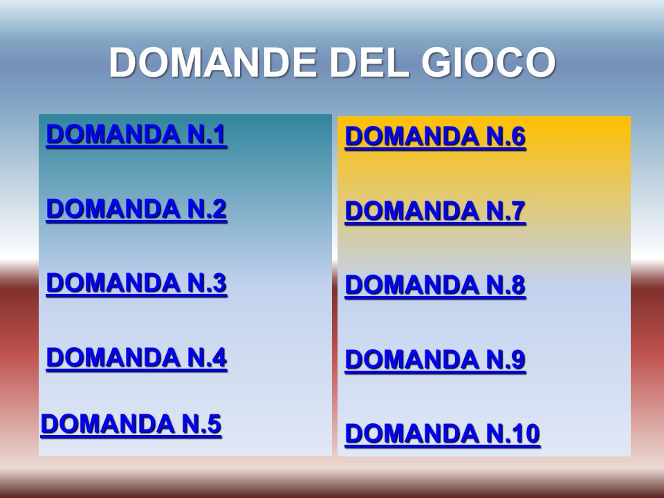 DOMANDE DEL GIOCO DOMANDA N.1 DOMANDA N.2 DOMANDA N.3 DOMANDA N.4