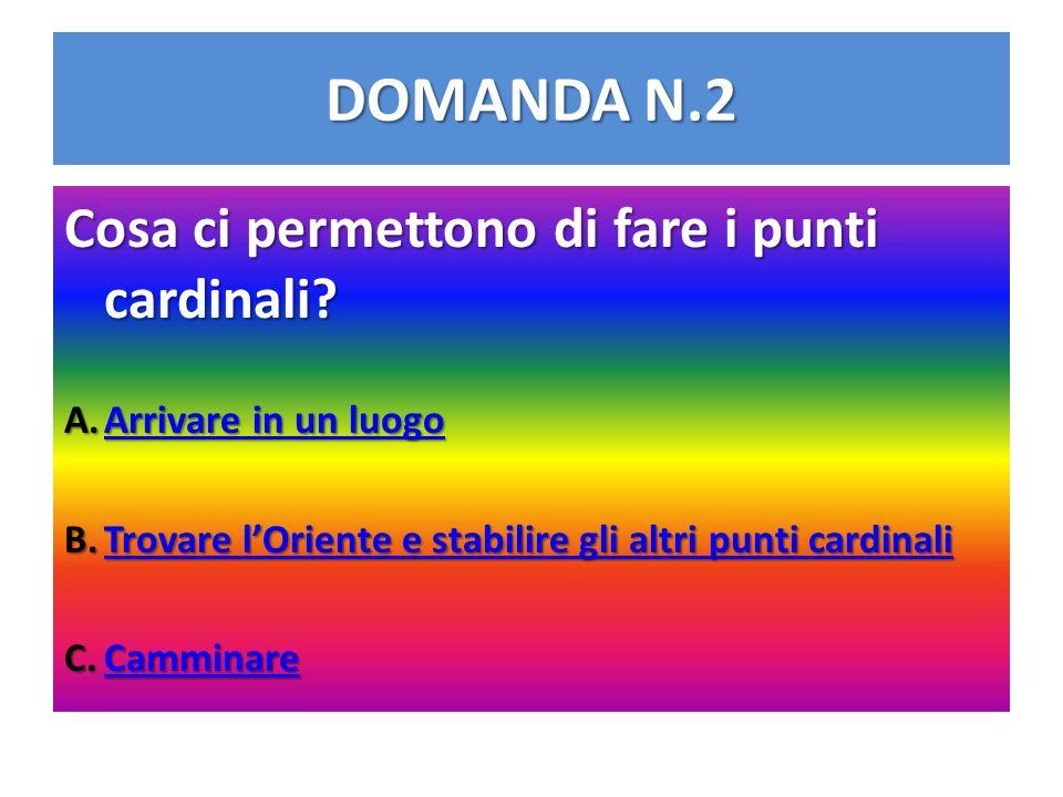 DOMANDA N.2 Cosa ci permettono di fare i punti cardinali