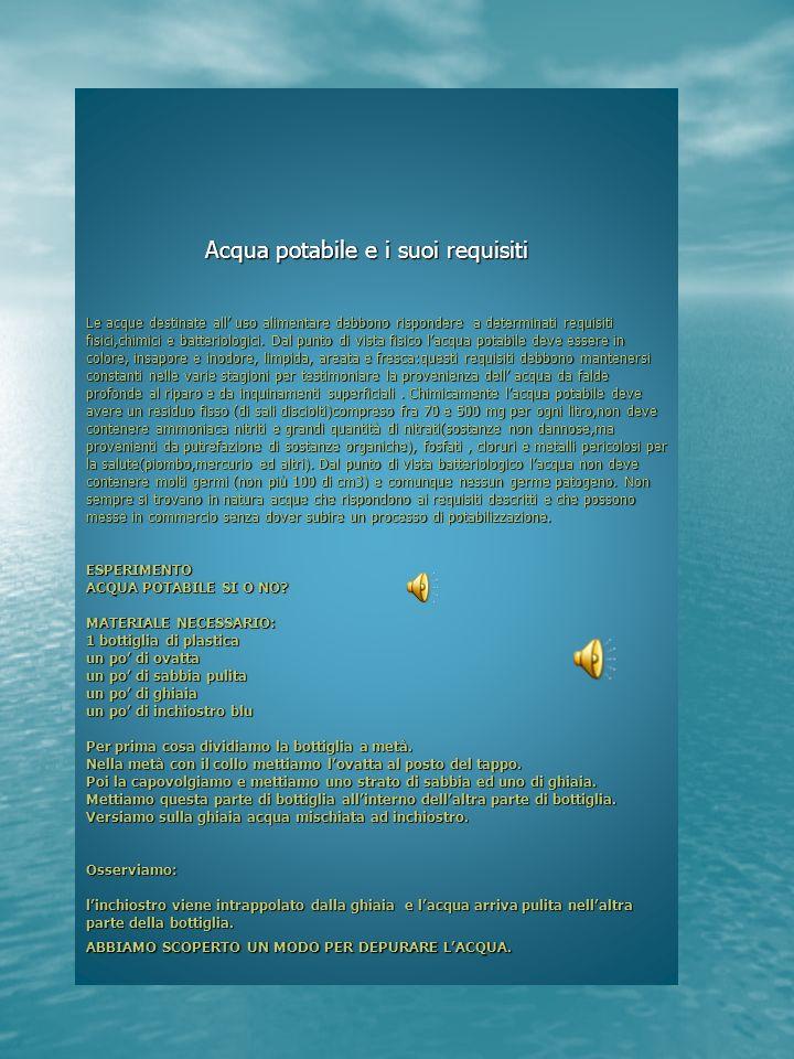 Acqua potabile e i suoi requisiti