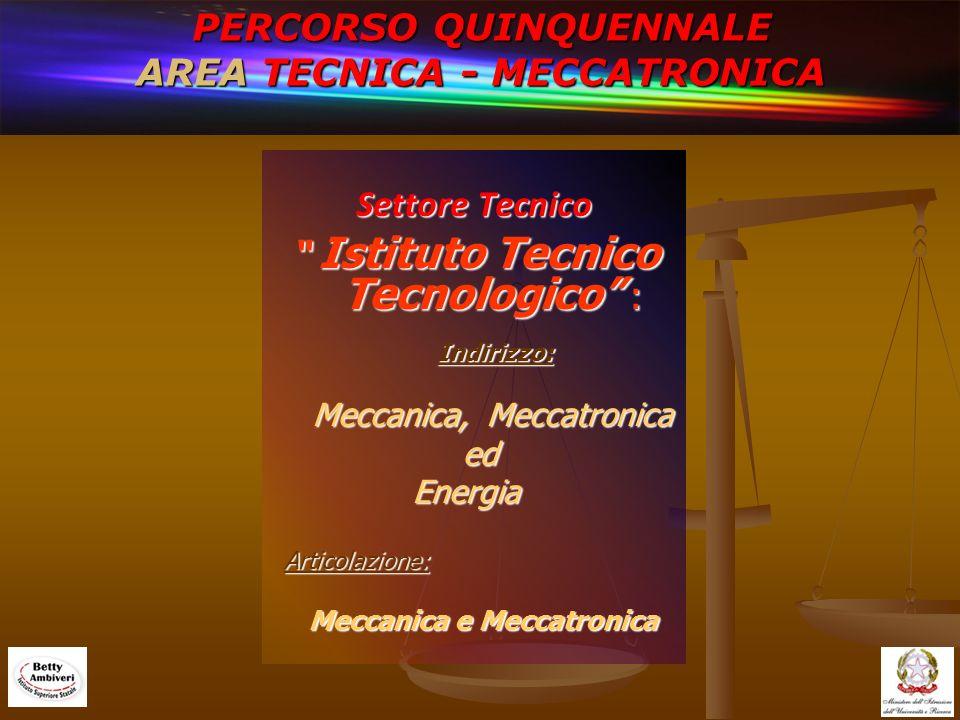 PERCORSO QUINQUENNALE AREA TECNICA - MECCATRONICA