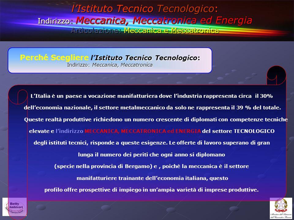 l'Istituto Tecnico Tecnologico: Indirizzo: Meccanica, Meccatronica ed Energia Articolazione: Meccanica e Meccatronica