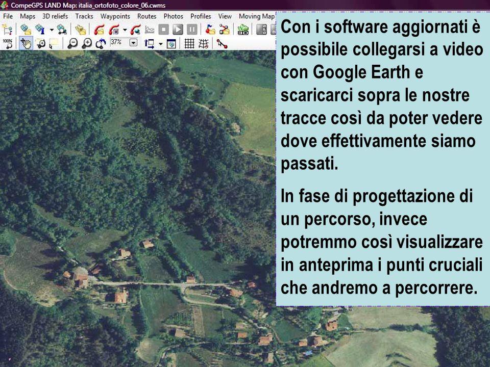 Con i software aggiornati è possibile collegarsi a video con Google Earth e scaricarci sopra le nostre tracce così da poter vedere dove effettivamente siamo passati.