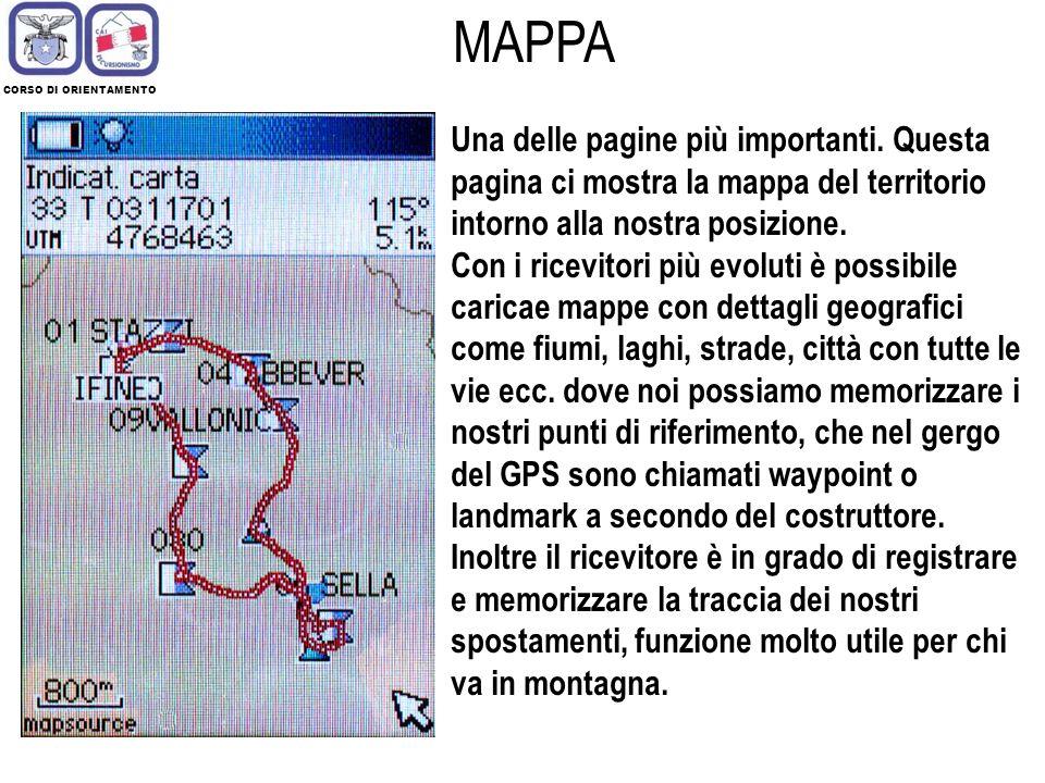 CORSO DI ORIENTAMENTO MAPPA. Una delle pagine più importanti. Questa pagina ci mostra la mappa del territorio intorno alla nostra posizione.