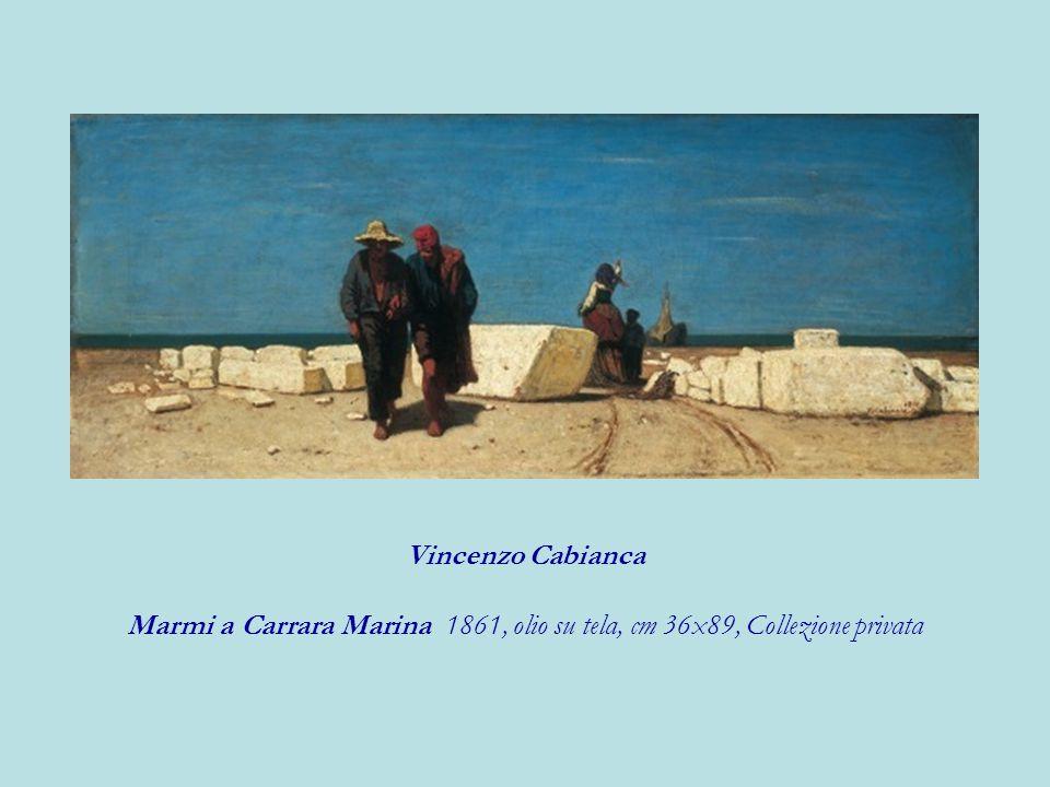 Vincenzo Cabianca Marmi a Carrara Marina 1861, olio su tela, cm 36x89, Collezione privata