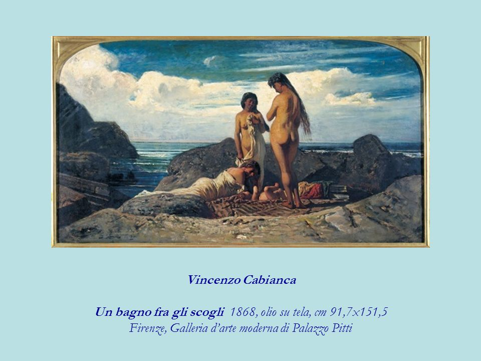 Un bagno fra gli scogli 1868, olio su tela, cm 91,7x151,5