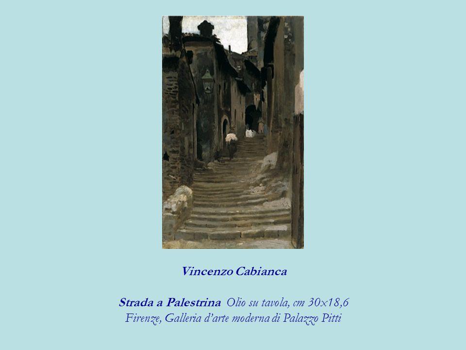 Strada a Palestrina Olio su tavola, cm 30x18,6
