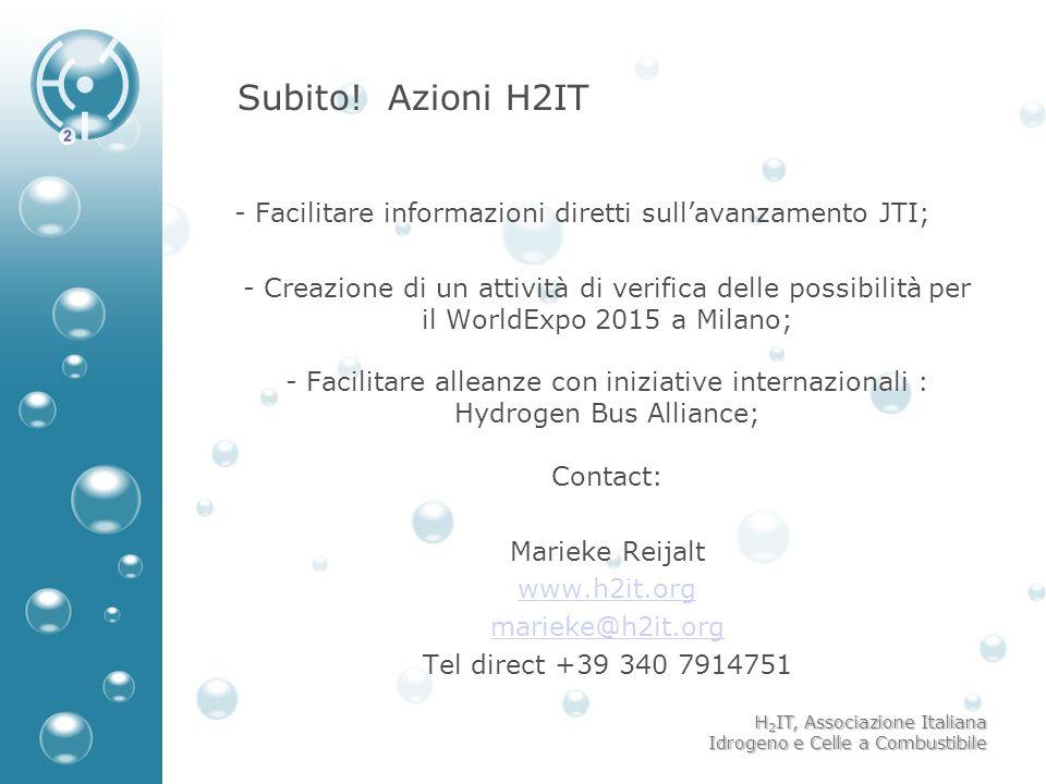 Subito! Azioni H2IT Facilitare informazioni diretti sull'avanzamento JTI;
