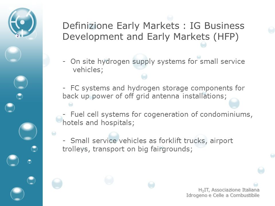 Definizione Early Markets : IG Business Development and Early Markets (HFP)