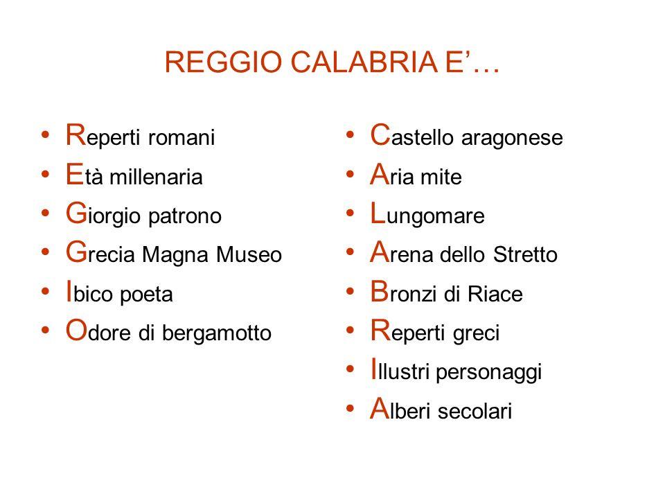 REGGIO CALABRIA E'… Reperti romani. Età millenaria. Giorgio patrono. Grecia Magna Museo. Ibico poeta.