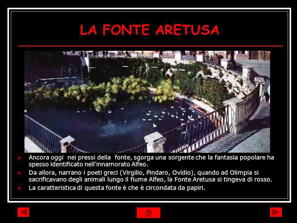 LA FONTE ARETUSA Ancora oggi nei pressi della fonte, sgorga una sorgente che la fantasia popolare ha spesso identificato nell innamorato Alfeo.