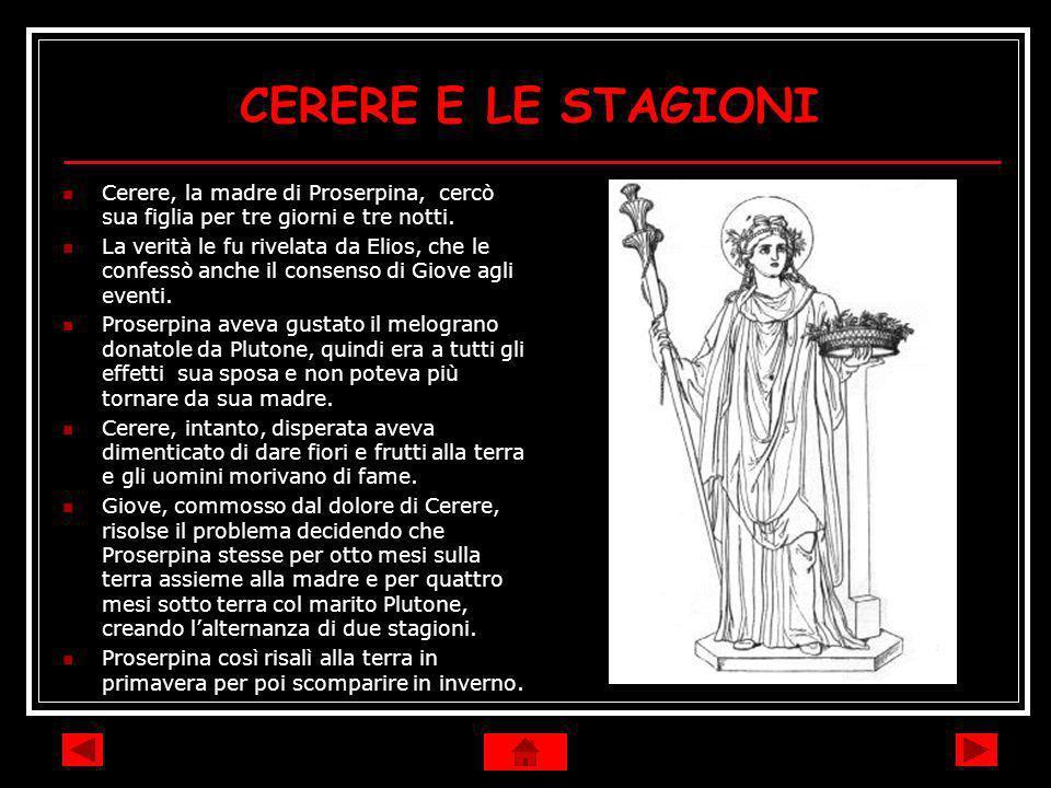 CERERE E LE STAGIONICerere, la madre di Proserpina, cercò sua figlia per tre giorni e tre notti.