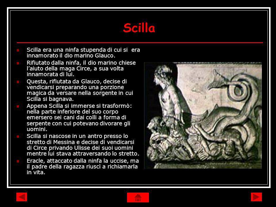 Scilla Scilla era una ninfa stupenda di cui si era innamorato il dio marino Glauco.