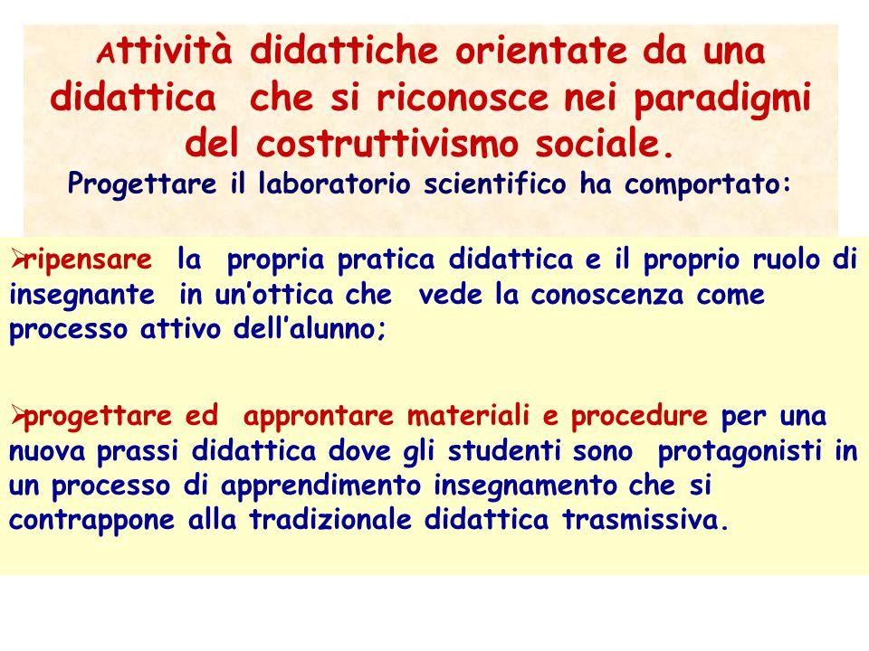 Attività didattiche orientate da una didattica che si riconosce nei paradigmi del costruttivismo sociale. Progettare il laboratorio scientifico ha comportato: