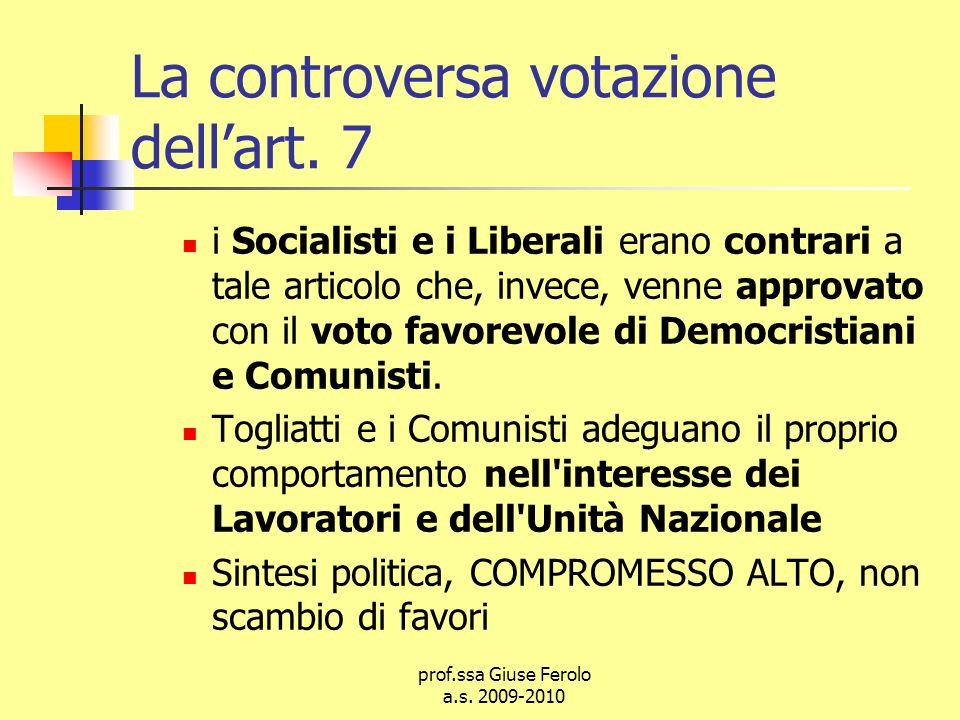 La controversa votazione dell'art. 7