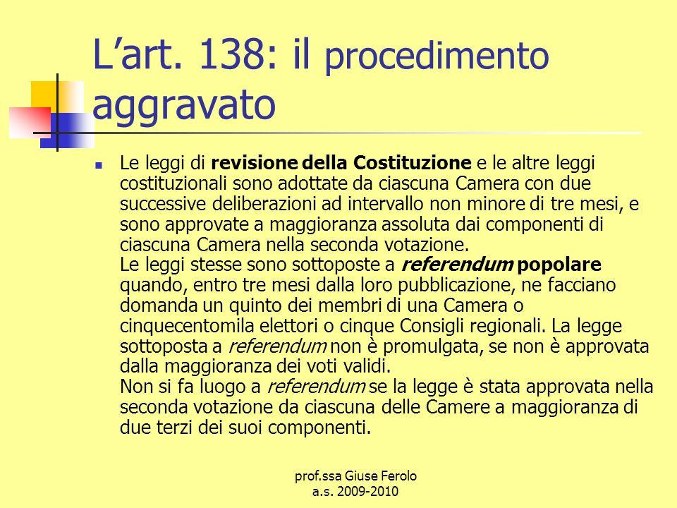 L'art. 138: il procedimento aggravato