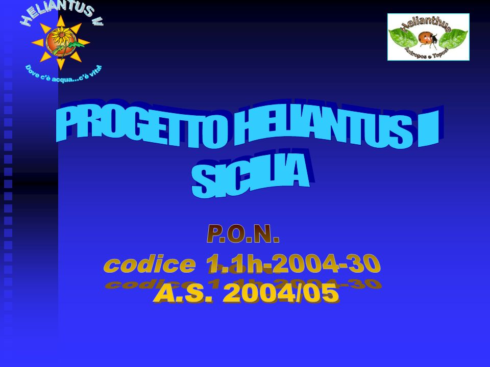 PROGETTO HELIANTUS II SICILIA P.O.N. codice 1.1h-2004-30 A.S. 2004/05