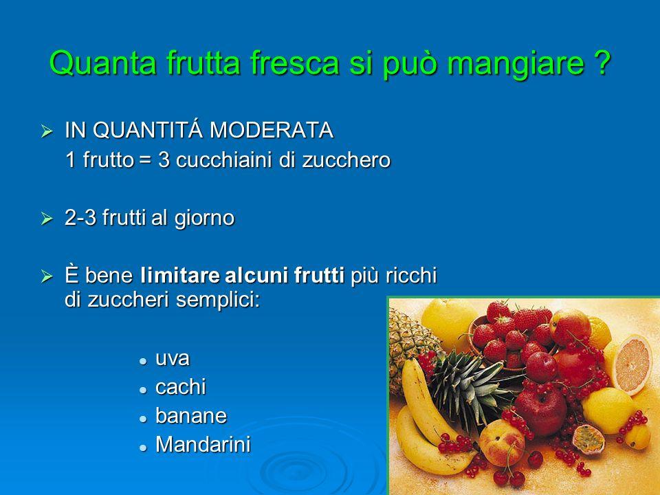 Quanta frutta fresca si può mangiare