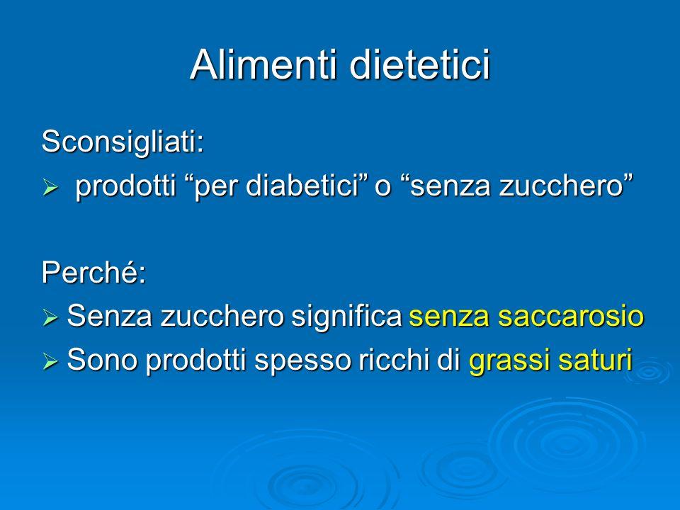 Alimenti dietetici Sconsigliati: