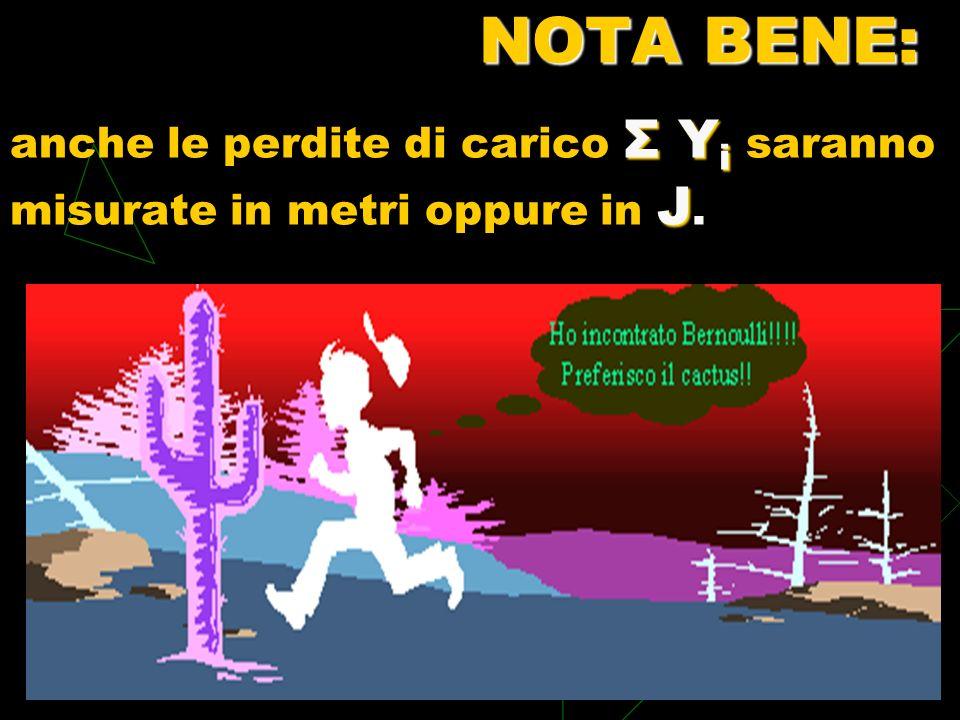 NOTA BENE: anche le perdite di carico Σ Yi saranno misurate in metri oppure in J.