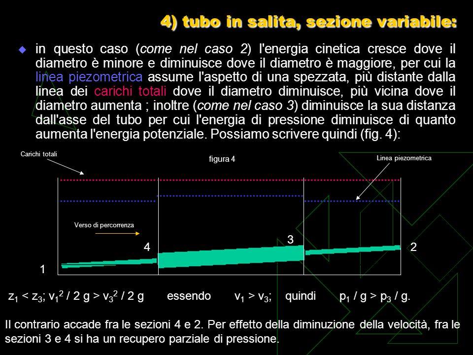 4) tubo in salita, sezione variabile: