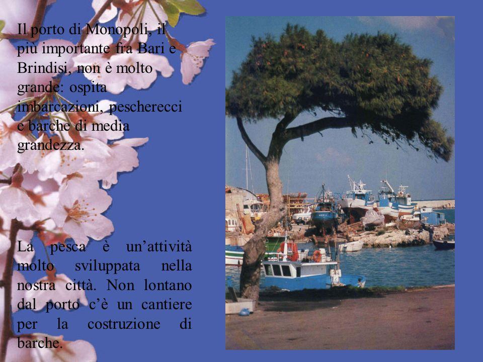 Il porto di Monopoli, il più importante fra Bari e Brindisi, non è molto grande: ospita imbarcazioni, pescherecci e barche di media grandezza.