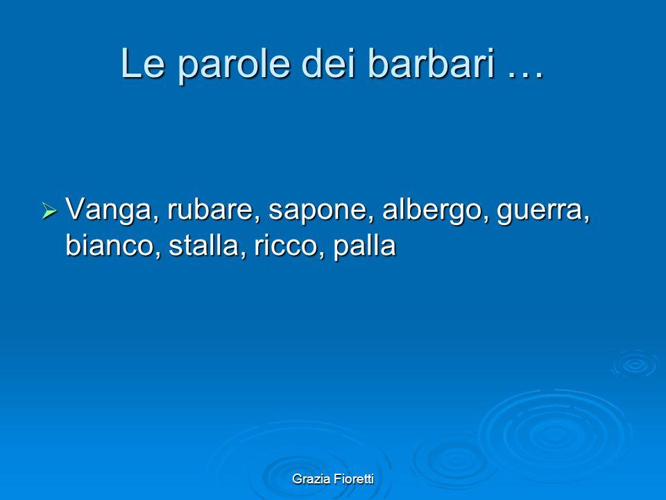 Le parole dei barbari … Vanga, rubare, sapone, albergo, guerra, bianco, stalla, ricco, palla.