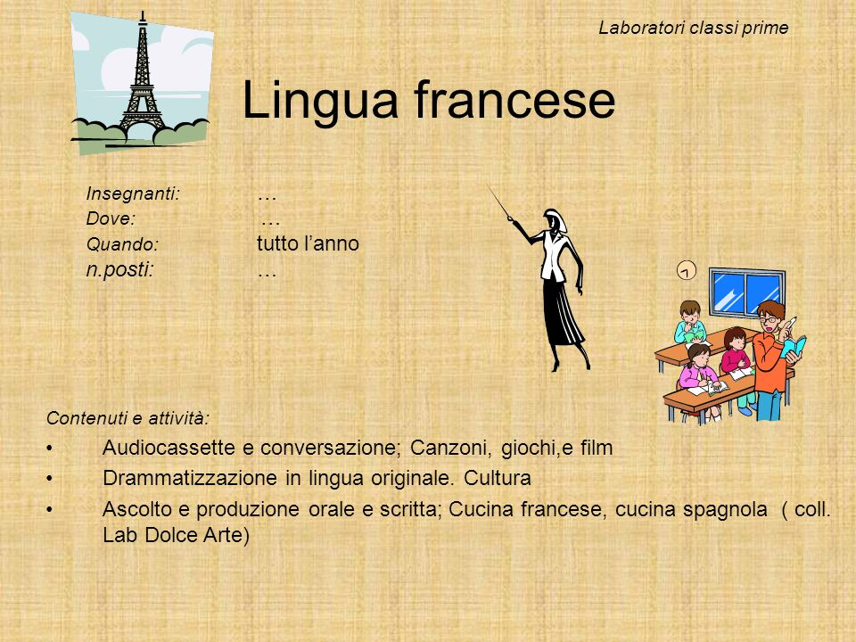 Lingua francese n.posti: …