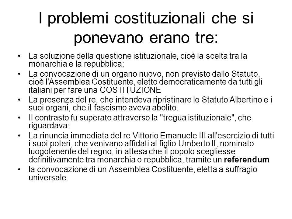 I problemi costituzionali che si ponevano erano tre: