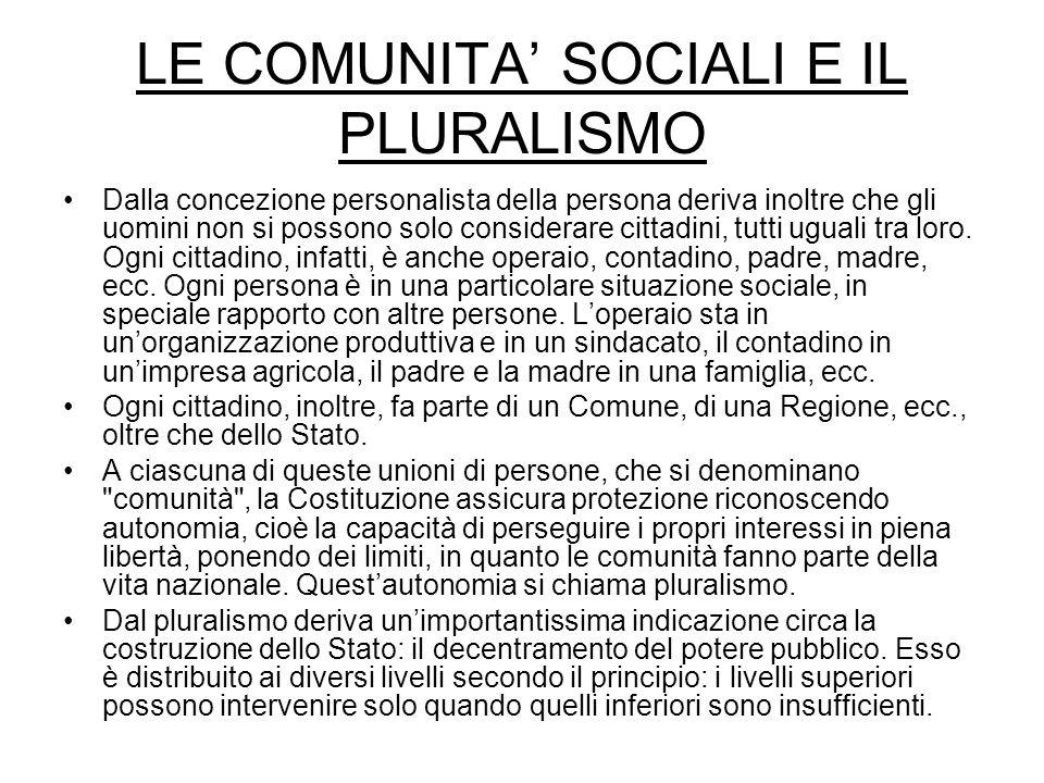 LE COMUNITA' SOCIALI E IL PLURALISMO