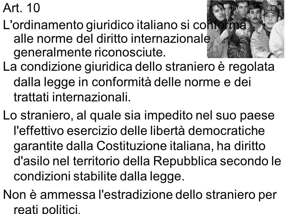 Art. 10 L ordinamento giuridico italiano si conforma alle norme del diritto internazionale generalmente riconosciute.