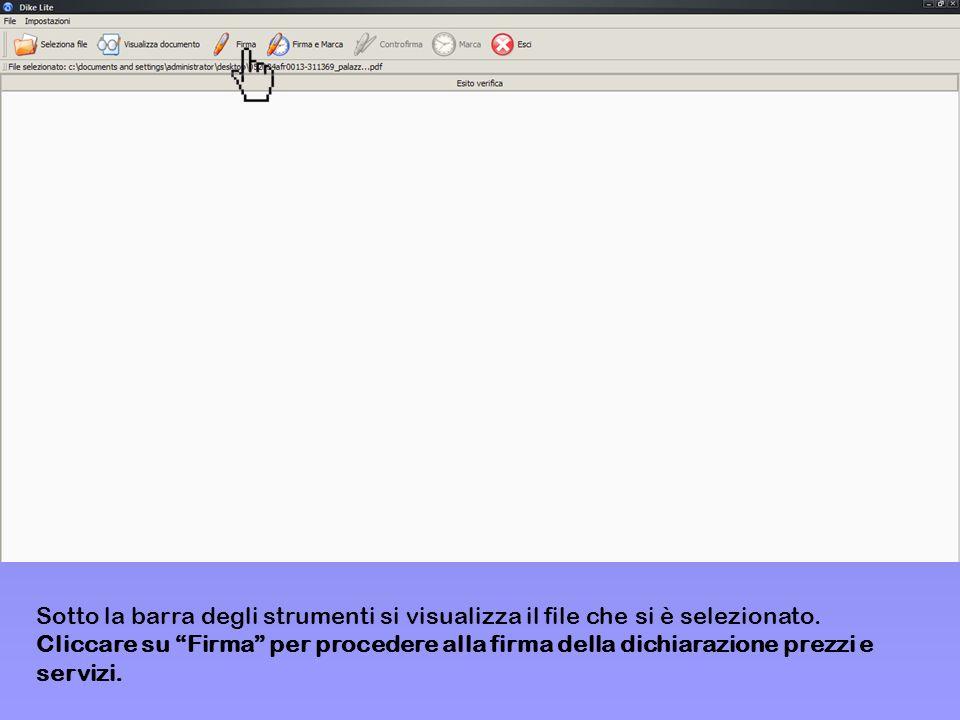 Sotto la barra degli strumenti si visualizza il file che si è selezionato.
