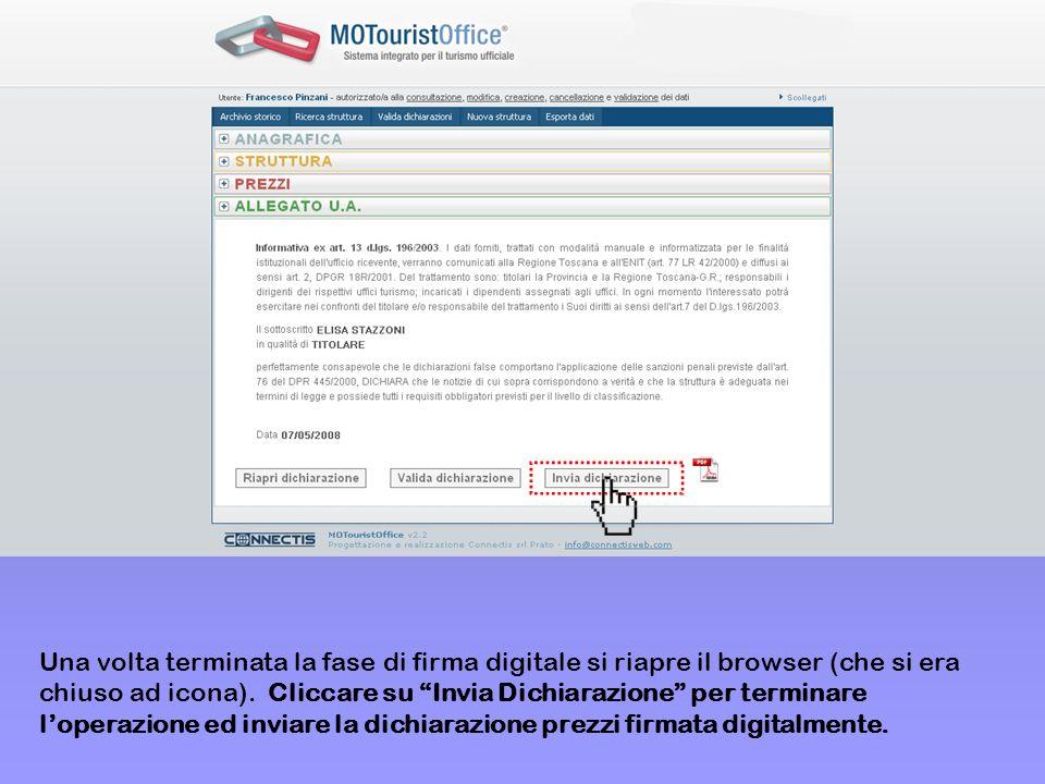 Una volta terminata la fase di firma digitale si riapre il browser (che si era chiuso ad icona).
